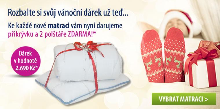 Ke každé matraci dárek - polštář a přikrývka.