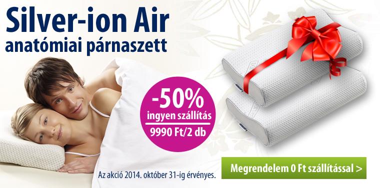 Silver-ion Air anatómiai párnaszett most 50% kedvezménnyel és ingyenes szállítással! Az akció  2014. október 31-ig vagy a készlet erejéig érvényes.