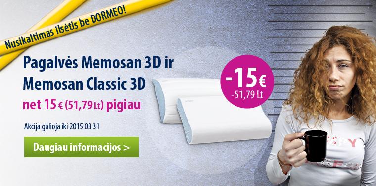 Dormeo Memosan pagalvės 15 € pigiau