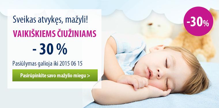 -30 % vaikiškiems čiužiniams
