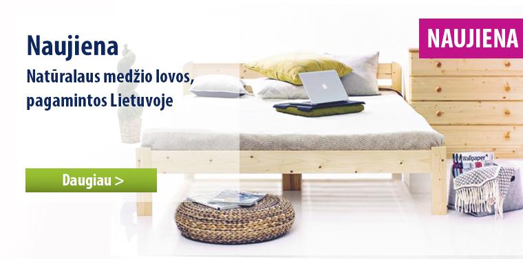 Natūralaus medžio lovos, pagamintos Lietuvoje