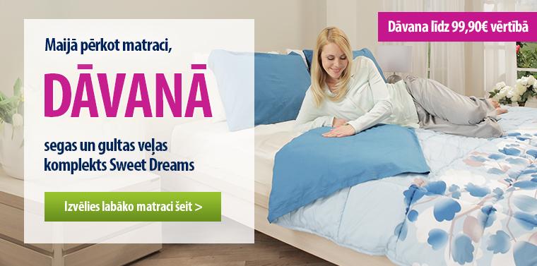 Pērkot Dormeo matraci, dāvanā Sweet Dreams komplekts!