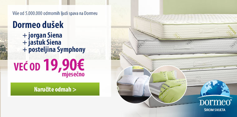 Dormeo dušek + Siena jorgan i jastuk + posteljina Symphony