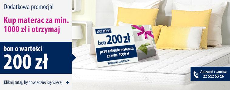 Przy zakupie materaca od 1000zł - bon na zakupy na stronach Dormeo, Delimano i Top Shop o wartości 200 zł w PREZENCIE!