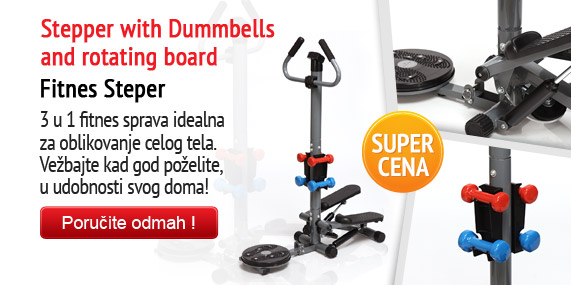 Stepper with Dummbells and rotating board